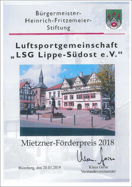 Urkunde Mietner-Förderpreis